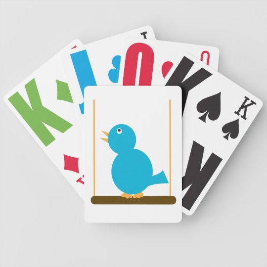 Blue Bird on a Perch Playing Cards