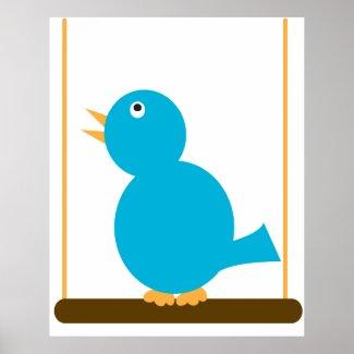 Blue Bird on a Perch Poster