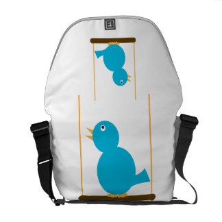 Blue Bird on a Perch Rickshaw Messenger Bag