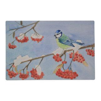 Blue bird on a rowan tree branch placemat