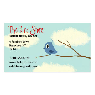 Blue Bird on a Tree Branch with Cloudy Sky Business Card