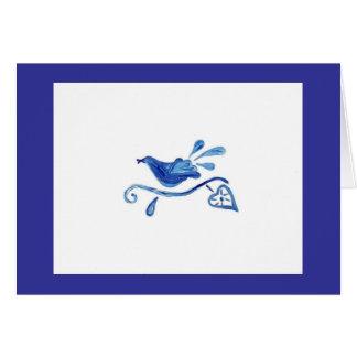 BLUE BIRD ON WHITE GREETING CARD
