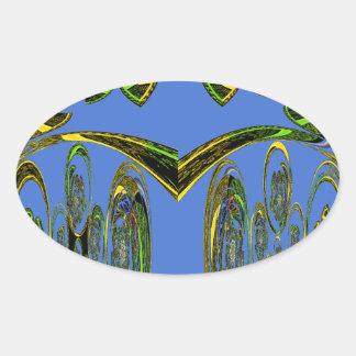 Blue bird oval sticker