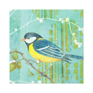 Blue Bird Perched on a Tree Canvas Print