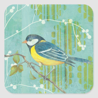 Blue Bird Perched on a Tree Square Sticker