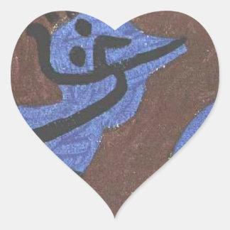 Blue bird pumpkin by Paul Klee Heart Sticker