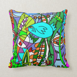 Blue Bird - Red Bird in Paradise Throw Pillow