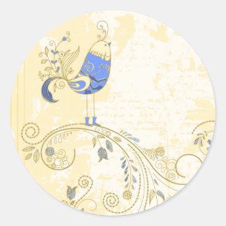 Blue Bird Retro Floral Fine Art Classic Round Sticker