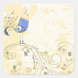 Blue Bird Retro Floral Fine Art Square Sticker