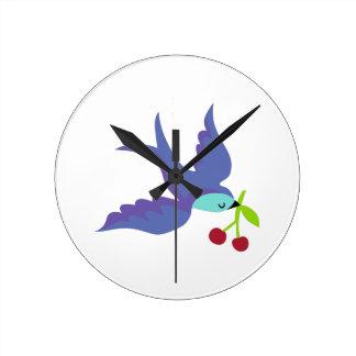 Blue Bird Round Clock