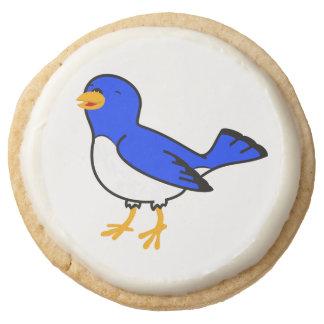 Blue Bird Round Shortbread Cookie