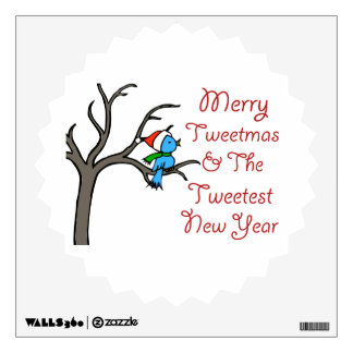 Blue Bird Says Merry Tweetmas Wall Sticker