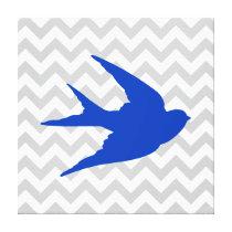 Blue Bird Silhouette on Chevron Stripes Canvas Print