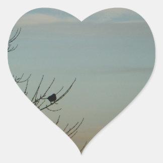 Blue Bird silhouette Powder Blue Sky Heart Sticker