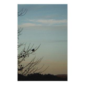 Blue Bird silhouette Powder Blue Sky Custom Stationery
