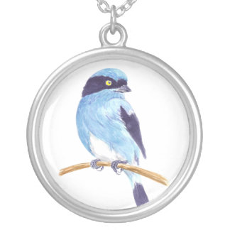 Blue bird silver plated necklace