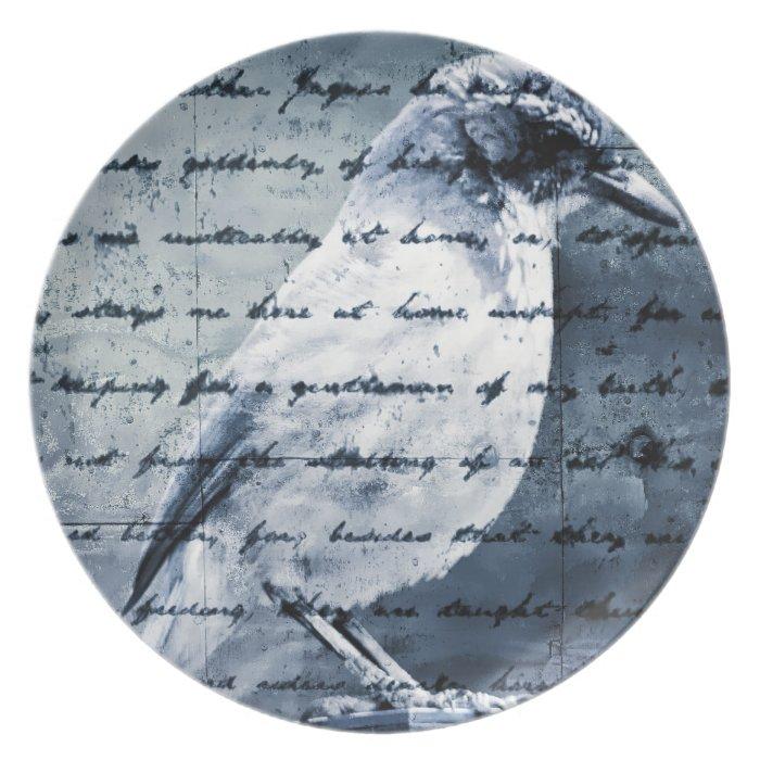 Blue Bird Song Melamine Plate