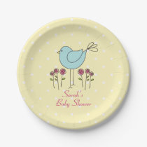 Blue Bird Spring Baby Shower Paper Plates