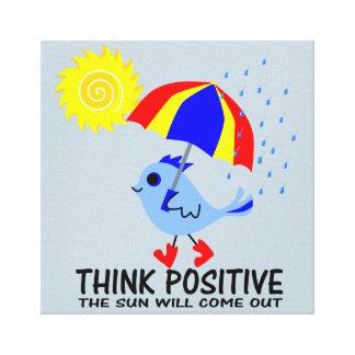 Blue Bird - Think Positive Message Canvas Print
