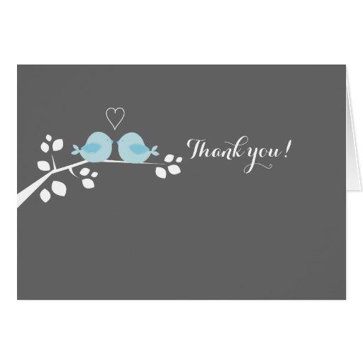 Blue Bird Wedding Couple Thank you Note Card