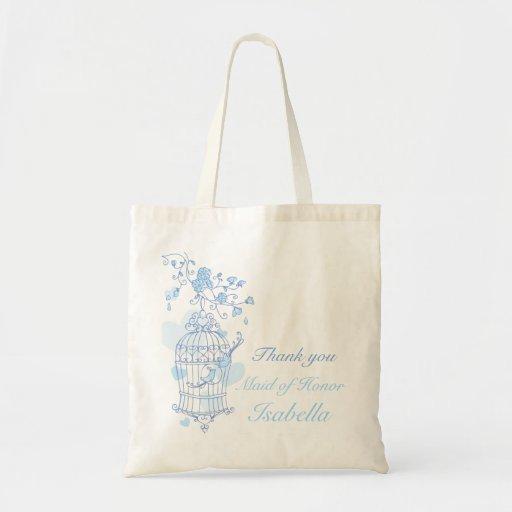 Blue bird wedding maid of honor bag