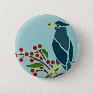 Blue Bird with Berries Pinback Button