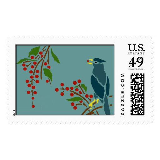 Blue Bird with Berries Postage Stamps