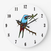 Blue Bird with Black Numbers Large Clock
