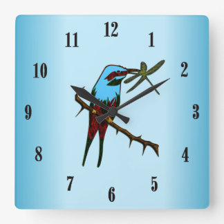 Blue Bird with Black Numbers Square Wall Clock