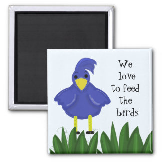Blue Bird with Cute Saying Magnet