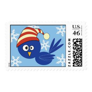 Blue bird with snowflakes postage