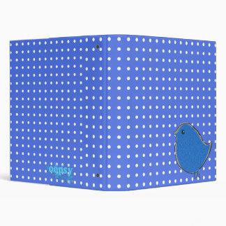 Blue Bird with White Polka-dots 3 Ring Binder