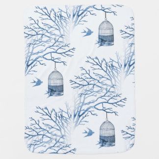 Blue Birdcage Bare Branches Baby Blanket