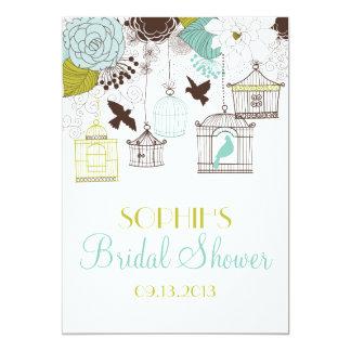 Blue Birdcages & Flowers Bridal Shower Invitations