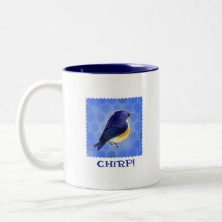 Blue Birdie 2-Tone Mug(left handle) Two-Tone Coffee Mug