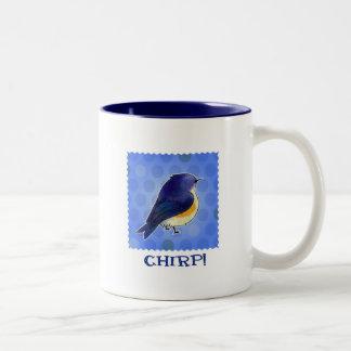 Blue Birdie 2-Tone Mug(right handle) Two-Tone Coffee Mug