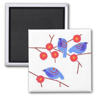 Blue birds 2 inch square magnet