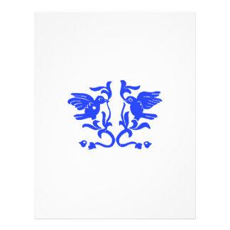 Blue Birds and Flourishes Letterhead