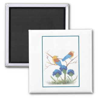 blue birds and thistle 2 inch square magnet