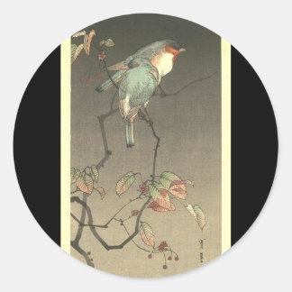 Blue Birds at Night by Seitei Watanabe 1851- 1918 Classic Round Sticker