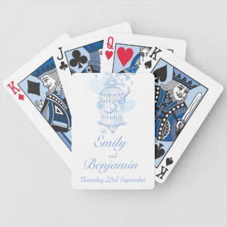 Blue birds cage wedding name playing cards