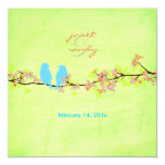Blue birds/colorful blossoms/grunge lime custom announcement