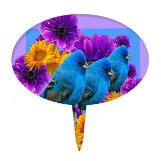 BLUE BIRDS FLOWERS BLUE ART CAKE TOPPER