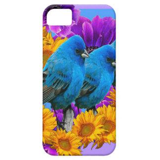 BLUE BIRDS FLOWERS BLUE ART iPhone SE/5/5s CASE