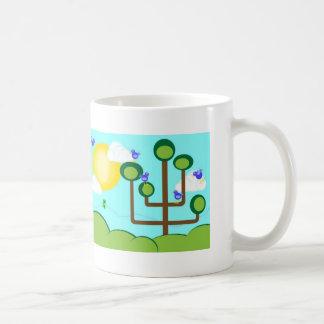 Blue birds, green tree and sunshine coffee mug