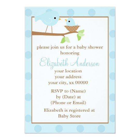 Blue Birds in a Nest Baby Shower Card