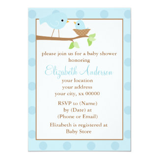 Blue Birds in a Nest Baby Shower 5x7 Paper Invitation Card