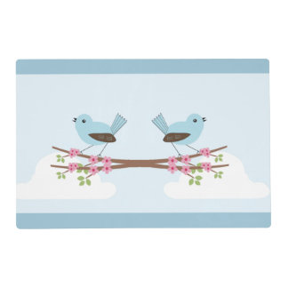 Blue Birds in Blossom Tree Placemat