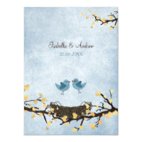 Blue birds in love invitation