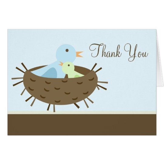 Blue Birds in Nest Baby Shower Thank You Card